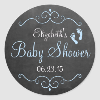 Chalkboard Look with Footprints Blue Baby Shower Classic Round Sticker
