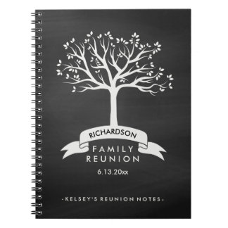 Chalkboard Look with Tree Family Reunion Notebook