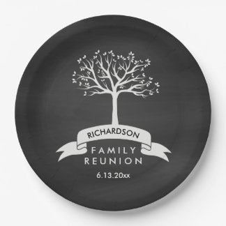 Chalkboard Look with Tree Family Reunion Paper Plate