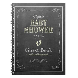 Chalkboard Look Yellow Baby Shower Guest Book Notebook