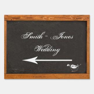 Chalkboard Love Bird Wedding Direction Sign