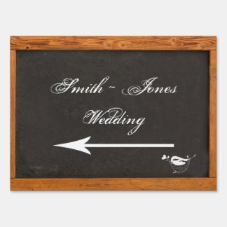Chalkboard Love Bird Wedding Direction Sign