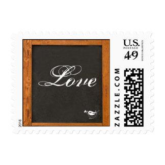 Chalkboard Love Bird Wedding Postage