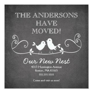 """Chalkboard Love Birds New Address Announcement 5.25"""" Square Invitation Card"""