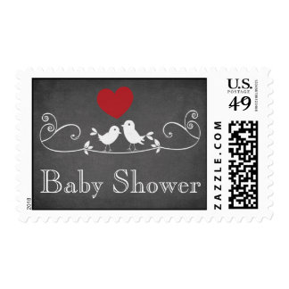 Chalkboard Love Birds Thank You Baby Shower Stamp