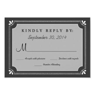 Chalkboard Love Birds Wedding RSVP 3.5x5 Paper Invitation Card