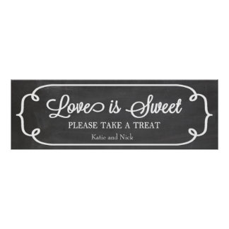Chalkboard Love is Sweet Sign Poster