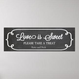 Chalkboard Love is Sweet Sign Print