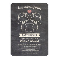 Chalkboard Love Makes a Family LGBT Baby Shower Invitation