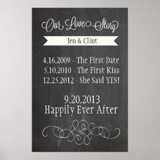 Chalkboard Love Story Poster