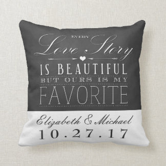 Chalkboard Love Story Wedding Anniversary Pillow