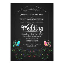 Chalkboard Lovebirds Wedding Invitations