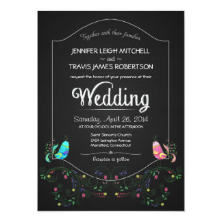 Chalkboard Lovebirds Wedding Invitations