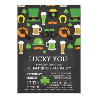 "Chalkboard Lucky You St Patrick's Day Dinner Party 5"" X 7"" Invitation Card"