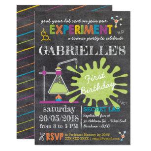 Science birthday invitations announcements zazzle chalkboard mad science party birthday invitation filmwisefo