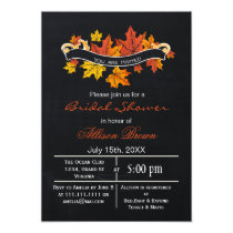 chalkboard maple leaves fall bridal shower card