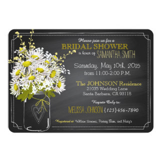 Chalkboard, Mason Jar and Daisies Bridal Shower Card
