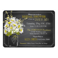 Chalkboard, Mason Jar and Daisies Bridal Shower Invitation