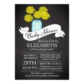 "Chalkboard Mason Jar Baby Shower Invitation 5"" X 7"" Invitation Card"