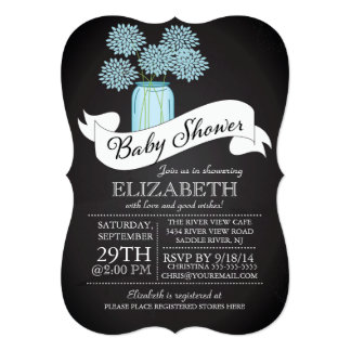 Chalkboard Mason Jar Baby Shower Invitation Invites