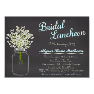 Chalkboard Mason Jar Baby's Breath Bridal Luncheon Card