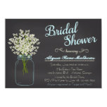 Chalkboard Mason Jar Baby's Breath Bridal Shower 4.5x6.25 Paper Invitation Card