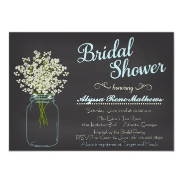 Toddler & Baby themed Chalkboard Mason Jar Baby's Breath Bridal Shower Card