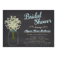 Chalkboard Mason Jar Baby's Breath Bridal Shower Card at Zazzle