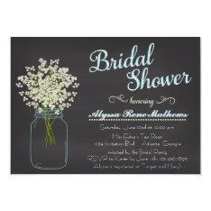 Chalkboard Mason Jar Baby's Breath Bridal Shower Card at Zazzle
