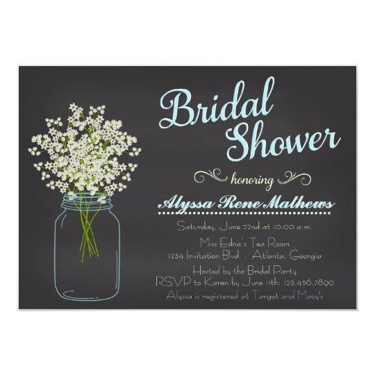 chalkboard mason jar baby's breath bridal shower card | zazzle, Baby shower invitations