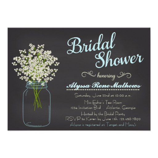 Chalkboard Mason Jar Baby's Breath Bridal Shower Personalized Announcement