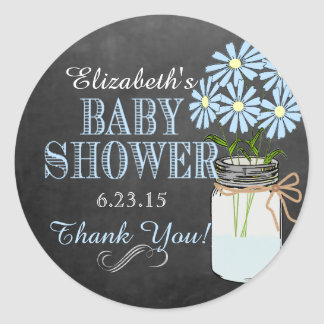 Chalkboard Mason Jar Blue Boy Baby Shower Classic Round Sticker