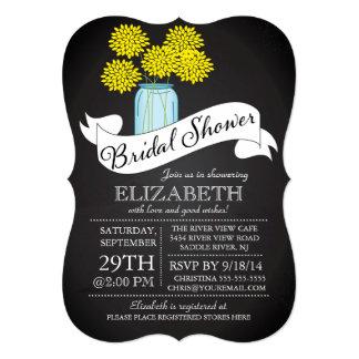 "Chalkboard Mason Jar Bridal Shower Invitation 5"" X 7"" Invitation Card"