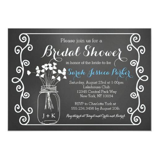 Chalkboard Mason Jar Bridal Shower Invitation