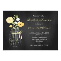 Chalkboard Mason Jar Bridal Shower Invitations