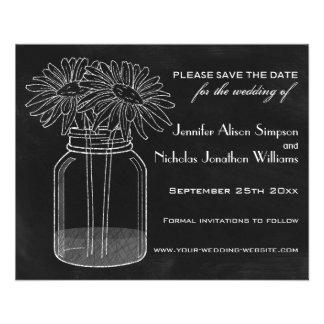 Chalkboard - Mason Jar - Daisies Save the Date Flyer