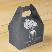 Chalkboard Mason Jar Floral Personalized Favor Box