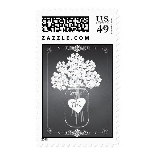 Chalkboard Mason Jar Floral Personalized Postage