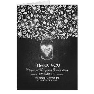 Chalkboard mason jar floral wedding thank you card
