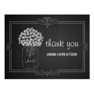 Chalkboard Mason Jar Flowers Wedding Thank You Postcard