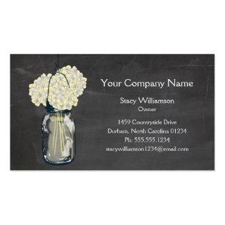 Chalkboard Mason Jar & Hydrangeas Business Card