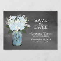 Chalkboard Mason Jar Hydrangeas | SAVE THE DATE