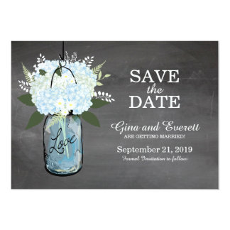 Chalkboard Mason Jar Hydrangeas | SAVE THE DATE Card