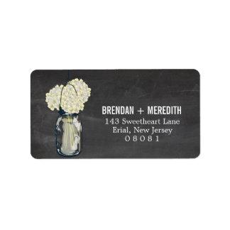 Chalkboard Mason Jar Hydrangeas   Wedding Address Label