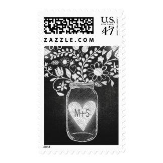 chalkboard mason jar initials wedding postage