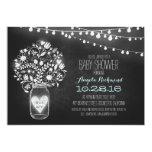 "chalkboard mason jar & lights Baby Shower invite 5"" X 7"" Invitation Card"