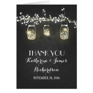 Chalkboard Mason Jar Lights Rustic Wedding Thanks Card