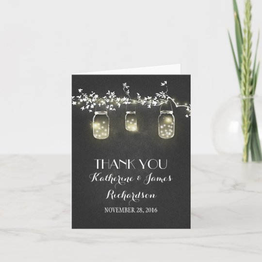 Chalkboard Mason Jar Lights Rustic Wedding Thanks Thank You Card Zazzle