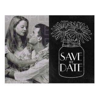 Chalkboard Mason Jar n Daisies Photo Save the Date Postcard