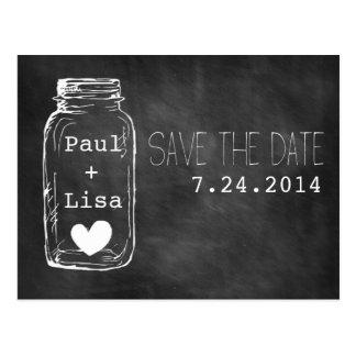 Chalkboard Mason Jar Names Heart Save the Date Postcard